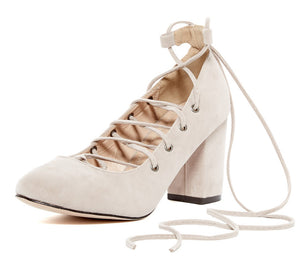 c4b450f7d82 Samantha Nude Almond Toe Lace Up Low Chunky Heel - Wholesale Fashion Shoes