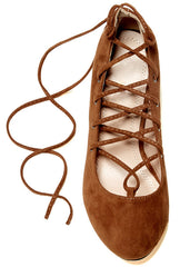 SAMANTHA TAN ALMOND TOE LACE UP LOW CHUNKY HEEL - Wholesale Fashion Shoes - 3
