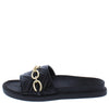 Laura184 Black Quilted Gold Chain Flat Slide Sandal - Wholesale Fashion Shoes