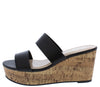 Laura112 Black Slide On Dual Strap Platform Cork Wedge - Wholesale Fashion Shoes