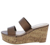 Laura112 Dark Copper Slide On Dual Strap Platform Cork Wedge - Wholesale Fashion Shoes