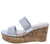 Laura112 Silver Slide On Dual Strap Platform Cork Wedge