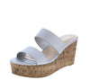 Laura112 Silver Slide On Dual Strap Platform Cork Wedge - Wholesale Fashion Shoes