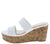 Laura112 White Slide On Dual Strap Platform Cork Wedge