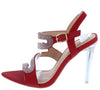 Cassy1 Red Rhinestone Zig Zag Strap Slingback Lucite Heel - Wholesale Fashion Shoes