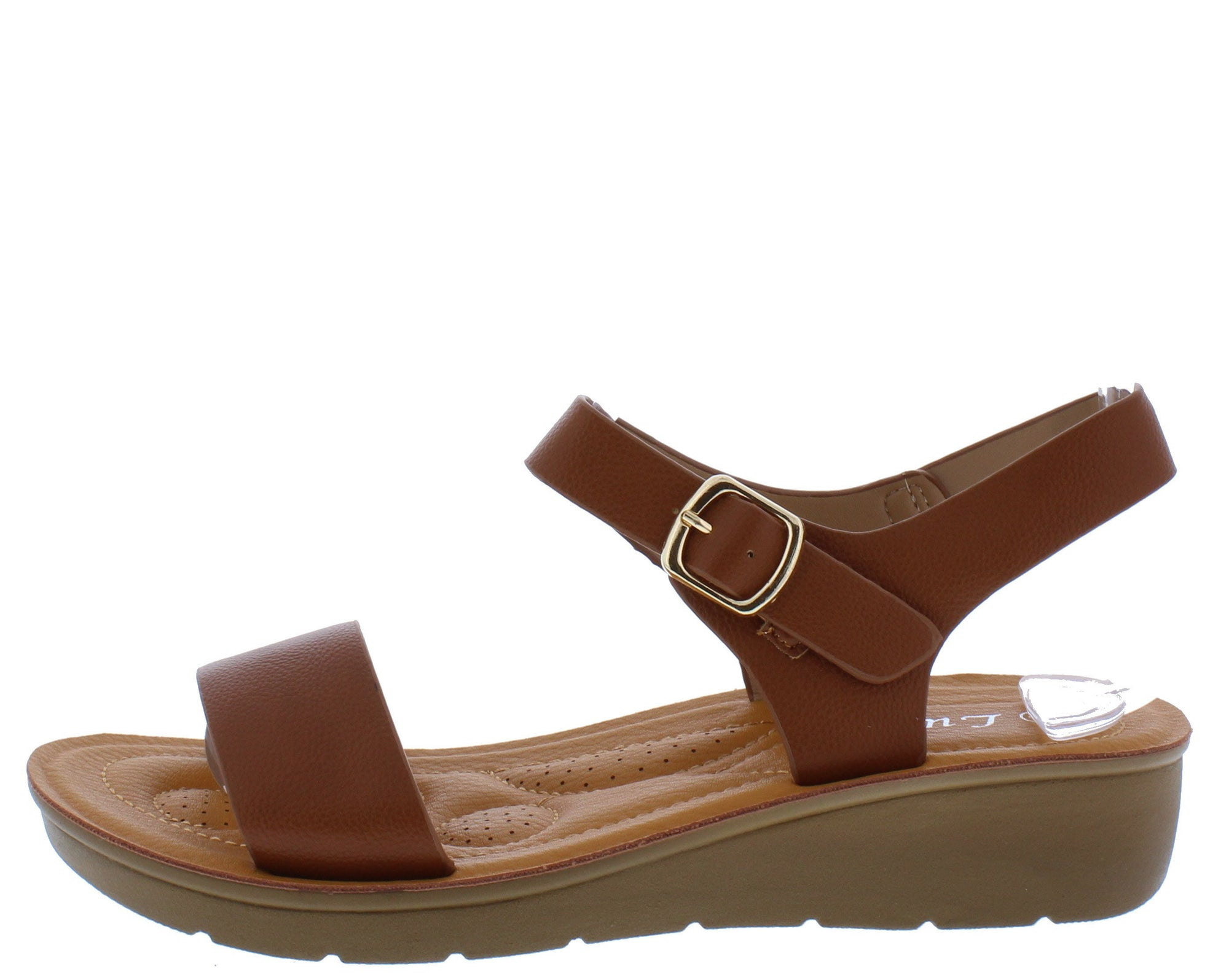 8debdd35f Bella167 Camel Open Toe Ankle Strap Low Wedge Sandal - Wholesale Fashion  Shoes