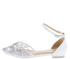 Janice295 Ivory Embellished Pointed Toe Mary Jane Flat - Wholesale Fashion Shoes