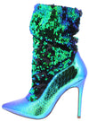 Monique024 Green Hologram Sequin Pull On Stiletto Boot - Wholesale Fashion Shoes