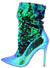 Monique024 Green Hologram Sequin Pull On Stiletto Boot