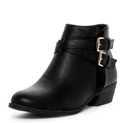 Chase1 Black Dual Cross Buckle Short Ankle Boot - Wholesale Fashion Shoes