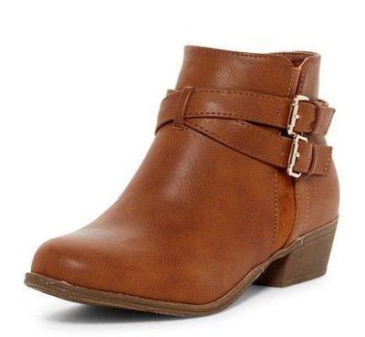 Chase1 Tan Dual Cross Buckle Short Ankle Boot - Wholesale Fashion Shoes