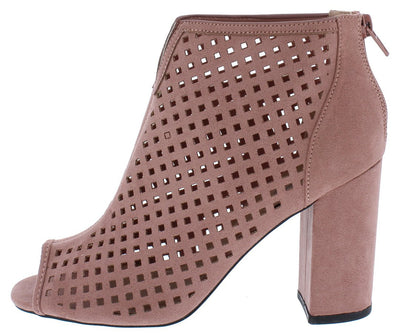 Chester131 Mauve Suede Pu Diamond Laser Cut Ankle Boot - Wholesale Fashion Shoes