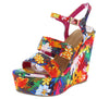 Choice24 Fuchsia Floral Dual Strap Slingback Platform Wedge - Wholesale Fashion Shoes