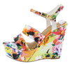 Choice24 White Floral Dual Strap Slingback Platform Wedge - Wholesale Fashion Shoes