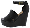 Choice44 Black Peep Toe Ankle Strap Platform Wedge - Wholesale Fashion Shoes