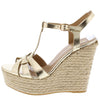 Choice55 Gold Peep Toe T Strap Espadrille Platform Wedge - Wholesale Fashion Shoes