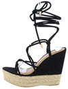 Choice83 Black Strappy Ankle Wrap Espadrille Wedge - Wholesale Fashion Shoes