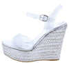 Choice93 Silver Sparkle Lucite Open Toe Espadrille Wedge - Wholesale Fashion Shoes