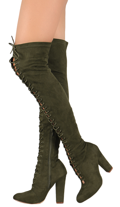 Cibel Olive Suede Lace Up Thigh High Pull Up Boot - Wholesale Fashion Shoes