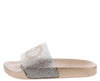 Circle100 Champagne Sparkle Open Toe Flat Slide Sandal - Wholesale Fashion Shoes