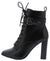Cissy Black Lace Up Buckle Strap Ankle Boot