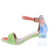 Clarisa1 Multi Green Open Toe Ankle Strap Lucite Block Heel - Wholesale Fashion Shoes