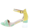 Clarisa1 Multi Yellow Open Toe Ankle Strap Lucite Block Heel - Wholesale Fashion Shoes