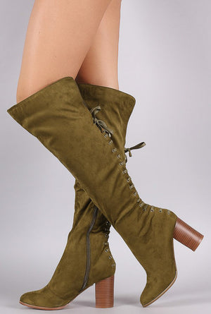 165c60de40c Cleo2 Olive Almond Toe Rear Lace Up Stack Chunky Heel Over the Knee Boot -  Wholesale