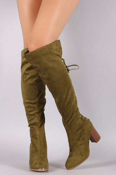 Cleo2 Olive Almond Toe Rear Lace Up Stack Chunky Heel Over the Knee Boot - Wholesale Fashion Shoes