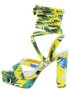 Compose04 Yellow Strappy Open Toe Ankle Wrap Platform Heel - Wholesale Fashion Shoes