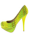 Corona11x Yellow Multi Print Almond Toe Platform Heel - Wholesale Fashion Shoes