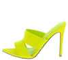 Crossing Lime Pointed Open Toe Cut Out Mule Stiletto Heel - Wholesale Fashion Shoes