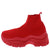 Rachel296 Red Knit Pull On Chunky Sneaker Boot