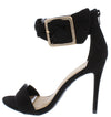 Dashing21 Black Open Toe Ankle Buckle Band Stiletto Heel - Wholesale Fashion Shoes