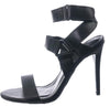 Dashing32 Black Band Strap Open Toe Stiletto Heel - Wholesale Fashion Shoes