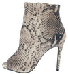 Dashing37 Snake Peep Toe Stiletto Ankle Boot - Wholesale Fashion Shoes