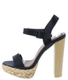 Dearly50d Black Pu Open Toe Ankle Strap Tall Block Heel - Wholesale Fashion Shoes