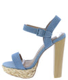 Dearly50d Light Blue Open Toe Ankle Strap Tall Block Heel - Wholesale Fashion Shoes