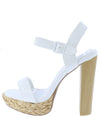Dearly50d White Open Toe Ankle Strap Tall Block Heel - Wholesale Fashion Shoes