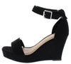 Declare07 Black Open Toe Ankle Strap Platform Wedge - Wholesale Fashion Shoes