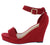 Declare07 Red Open Toe Ankle Strap Platform Wedge