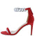 Doline Red Rhinestone Chain Open Toe Stiletto Heel