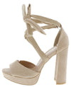 Dolores1 Nude Peep Toe Cross Strap Ankle Wrap Block Heel - Wholesale Fashion Shoes