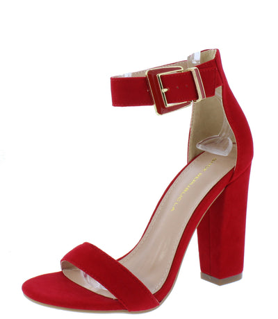 Dormer Red Open Toe Ankle Strap Tapered Block Heel - Wholesale Fashion Shoes