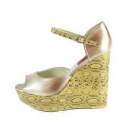 Sofia08 Beige Patent Peep Toe Snakeskin Wedge - Wholesale Fashion Shoes