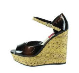 Sofia08 Black Patent Peep Toe Snakeskin Wedge - Wholesale Fashion Shoes