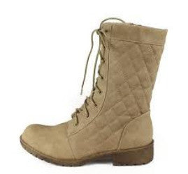 Sotila3 Taupe Suede Quilted Lace Up Combat Boots - Wholesale Fashion Shoes