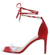 Drill Red Lucite Open Toe Beaded Ankle Wrap Stiletto Heel - Wholesale Fashion Shoes