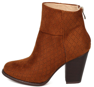 Durian9 Camel Multi Diamond Perforated Chunky Heel Ankle Boot - Wholesale Fashion Shoes
