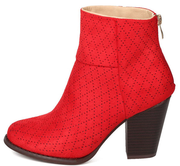 68ae42579ded Durian9 Red Multi Diamond Perforated Chunky Heel Ankle Boot